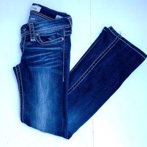 BKE Stella Bootcut Jeans Size 27L Dark Distressed